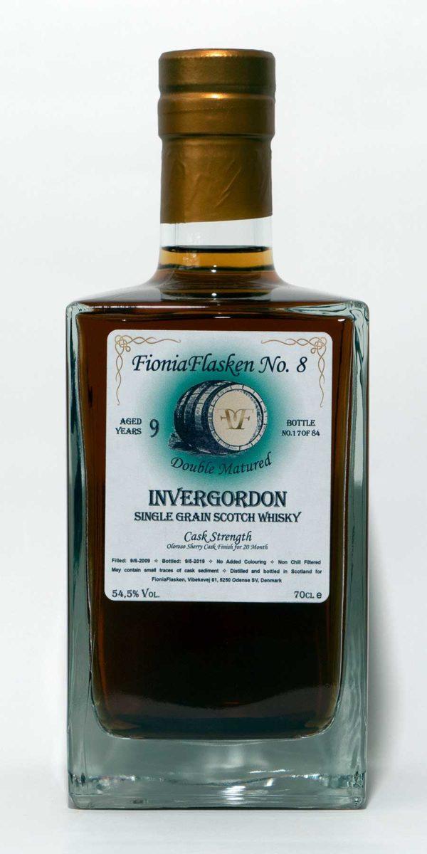 FioniaFlasken No. 8 Invergordon 9 år Doubled Matured Cask Strength, Highland, Sherry Cask Finish, Single Cask, Single Grain, Skotsk Whisky